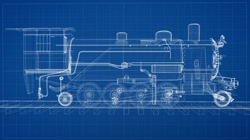 Old steam engine locomotive train with freight carriages moving on a train is drawn on a blueprint then fades to the finished malvernweather Images