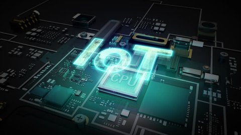 Hologram typo 'IOT' on CPU chip circuit, grow artificial intelligence technology.