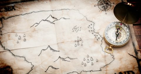 Panoramic move camera above Fake pirate map with Treasure chest, red adventure path and Pirate Ship. Old retro and vintage map of Fake Island with treasure chest and skull.