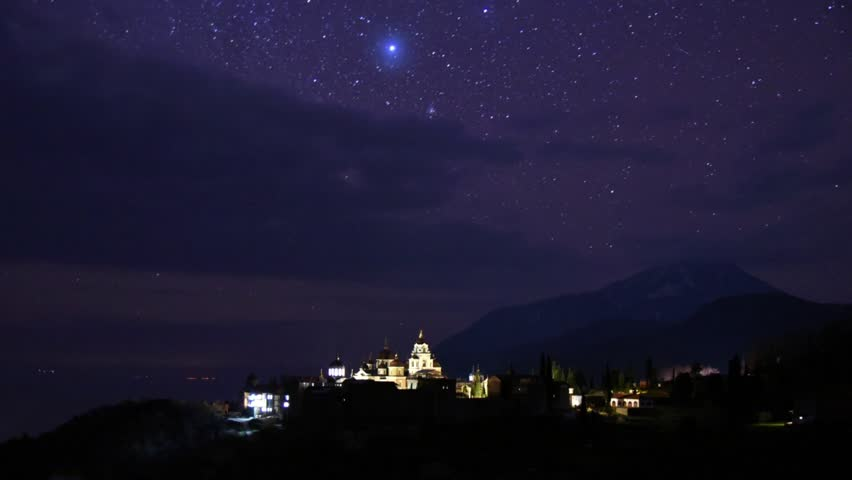 St Andrews skete at night timelapse, Mount Athos