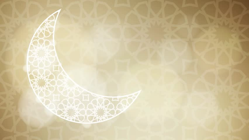 Ornamental half moon with glittering bokeh lights on the golden background with the traditional Arabic pattern. Loopable Ramadan graphic animation.