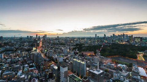 Timelapse view of Tokyo city at sunset