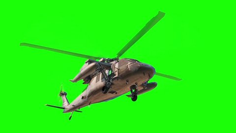 Military Helicopter Black Hawk Down Green Screen 3D Rendering Animation