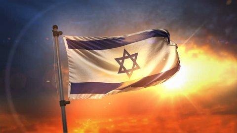 Israel Flag Backlit At Beautiful Sunrise Loop Slow Motion 4K
