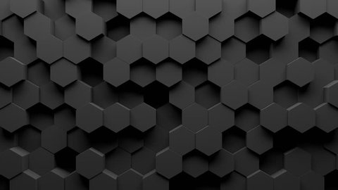 Abstract hexagon geometry background. 3d render of simple primitives with six angles in front. Dark lighting. Loopable sequence.