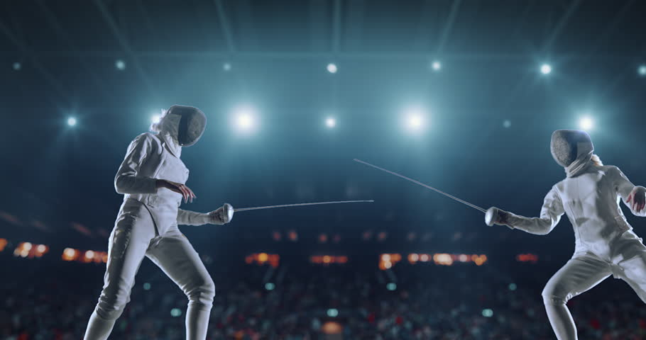 4K video in slow motion of two female fencing athletes. The action takes place on professional sports arena with spectators and lense-flares. Women wear unbranded sports clothes. Arena is made in 3D. | Shutterstock HD Video #27274330