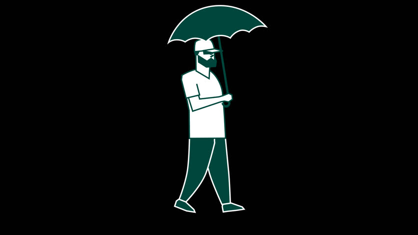Cartoon Flat Figure. Cool Man Walk With Umbrella. 2d Animation with Alpha channel.