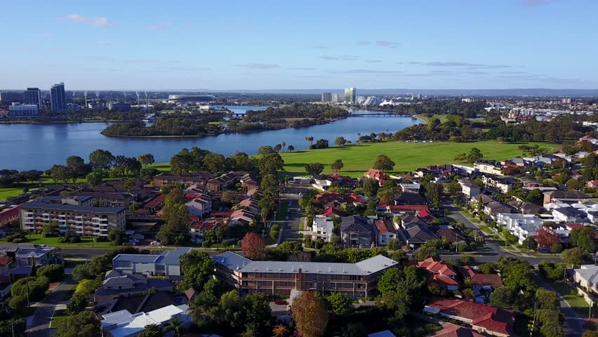Aerial 4K video of South Perth suburb in Perth, Western Australia.