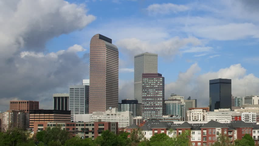 Downtown Denver with Interesting Clouds Time lapse. Timelapse.