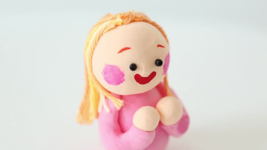 paper clay doll young girl smiling