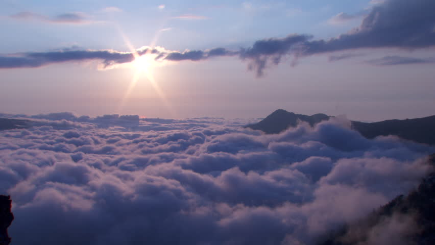 Qadisha Valley. View of a heavy bank of clouds covering the Qadisha Valley and surrounding mountain peaks at sunset. #27354010