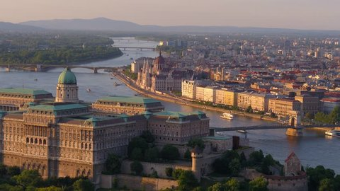 Aerial view of downtown Budapest in sunset