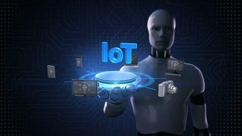 Robot, Cyborg Open Palm, Smart Stock Footage Video (100