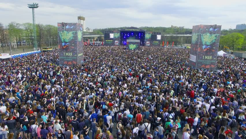 MOSCOW - MAY 01, 2017: Crowd pf people get fun on Hip Hop May Day outdoor concert at territory of Luzhniki park. Aerial view