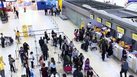 BANGKOK, THAILAND - DECEMBER 13, 2016: View of Don Mueang airport interior in Bangkok capital city, Thailand.