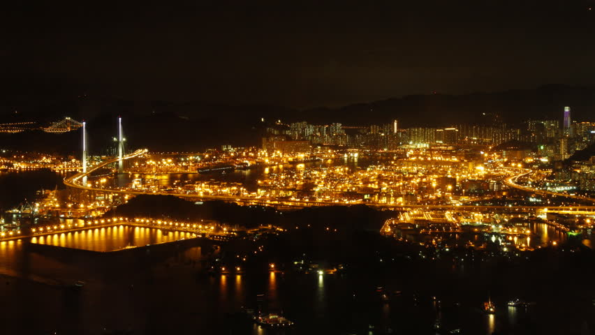 Time lapse of Hong Kong Kwai Tsing Container Terminal Panorama at Night. | Shutterstock HD Video #2739050