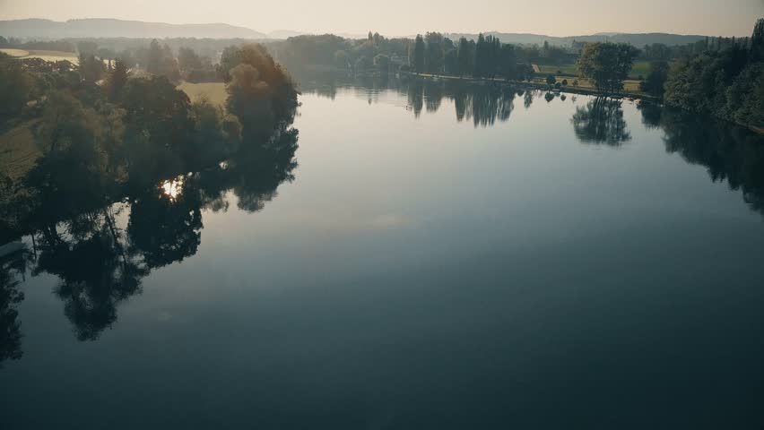 Rhine river aerial view during sunrise | Shutterstock HD Video #27411700