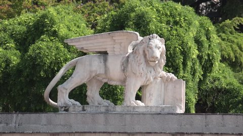 lion of venice, footage of a symbol in udine