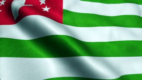Abkhazia Flag Waving In The Wind. Looping Sun Rises Style. Animation Loop