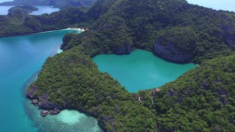 Aerial View Of Emerald Lake in Ang Thong Marine Park In Thailand. 4K