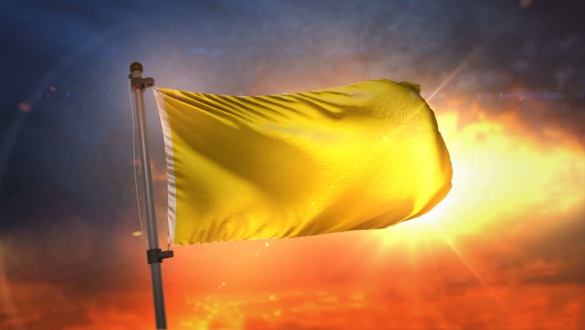 Yellow Flag Backlit At Beautiful Sunrise Loop Slow Motion 3D Rendering 4K | Shutterstock HD Video #27482104