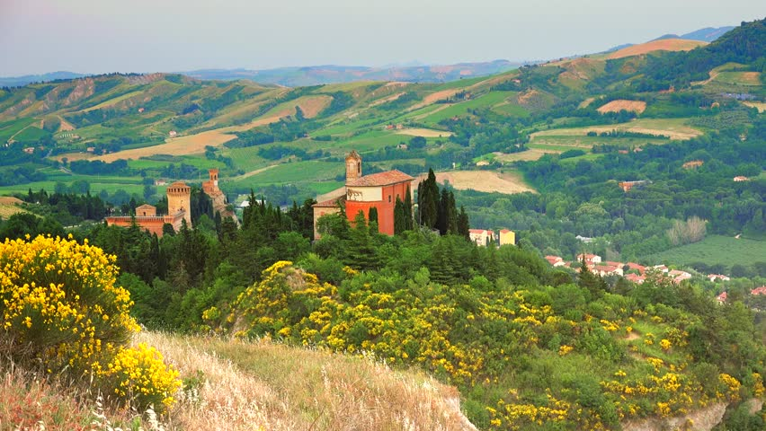 Ancient fortress and clock tower of Brisighella, medieval village in countryside of Romagna, Italy