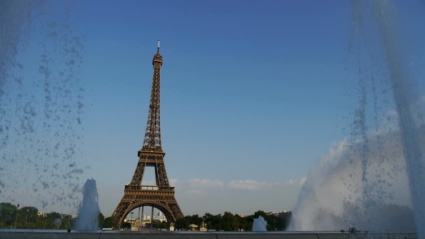 Paris, France, August 2012 : Water fountains frame the Eiffel tower at sunset, 2012 | Shutterstock HD Video #2750837