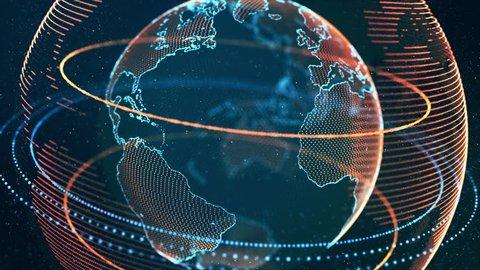 Virtual Globe Futuristic Earth Hologram Spinning Digital Planet Seamless Looping Motion Background DCI 4K Ultra HD