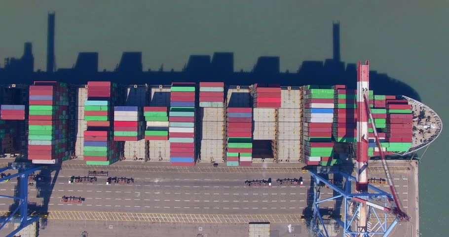 Commercial port with container ships - Top down aerial view. | Shutterstock HD Video #27516130
