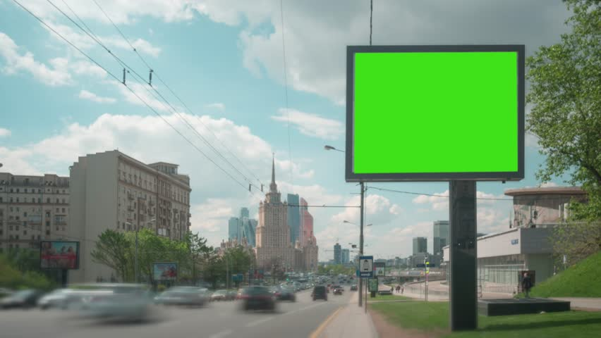 Time Lapse. A Billboard with a Green Screen on a Busy Street. | Shutterstock HD Video #27517942