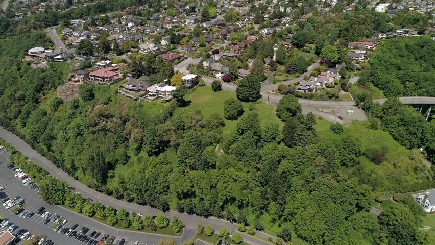 Helicopter Aerial View on Sunny Day in Magnolia Neighborhood of Seattle, Washington