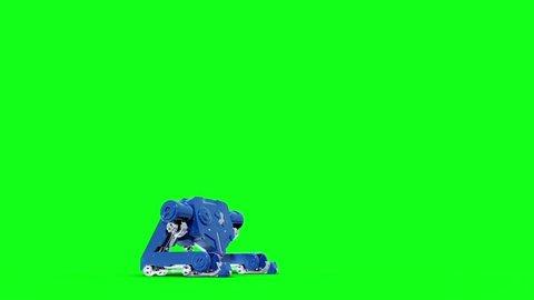 Giant Mech Robot Shoots Side Green Screen 3D Rendering Animation