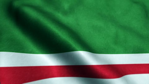 Beautiful looping flag blowing in wind: Chechen Republic of Ichkeria