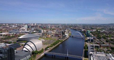 Aerial 4K views of Glasgow, Scotland, UK.