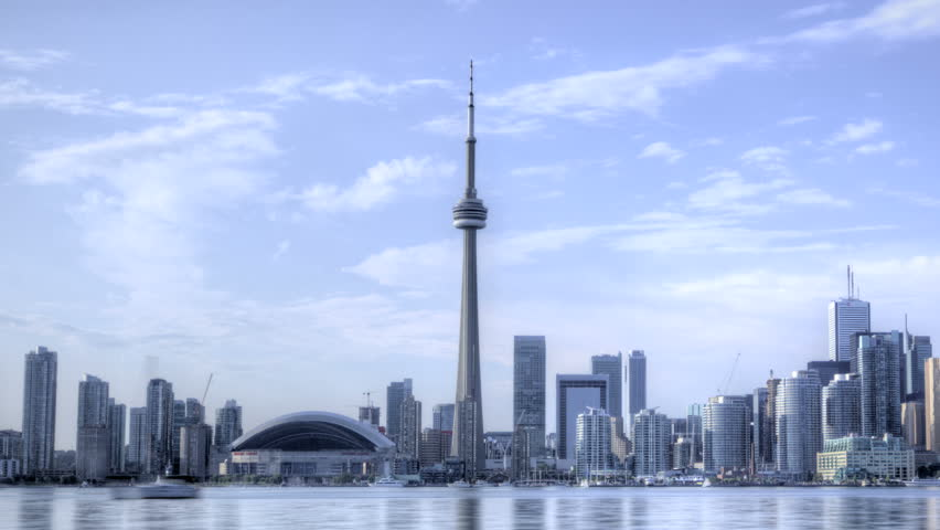 TORONTO, CANADA, AUG 15, 2012: HDR Time lapse Toronto Skyline and CN Tower with