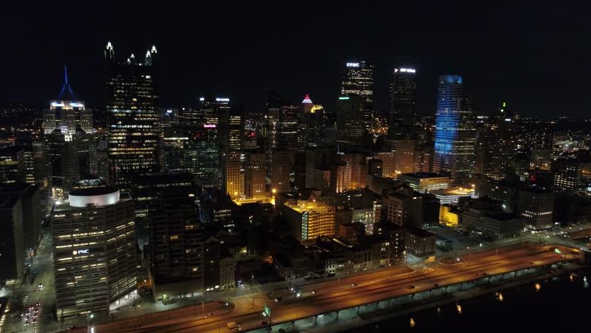 Pittsburgh City Skyline PNC Park Reveal Aerial Night 4K