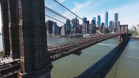 Brooklyn Bridge in NY. Financial District. Manhattan / Epic and Cinematic Aerial / Drone Shot / New York / 05.05.2017