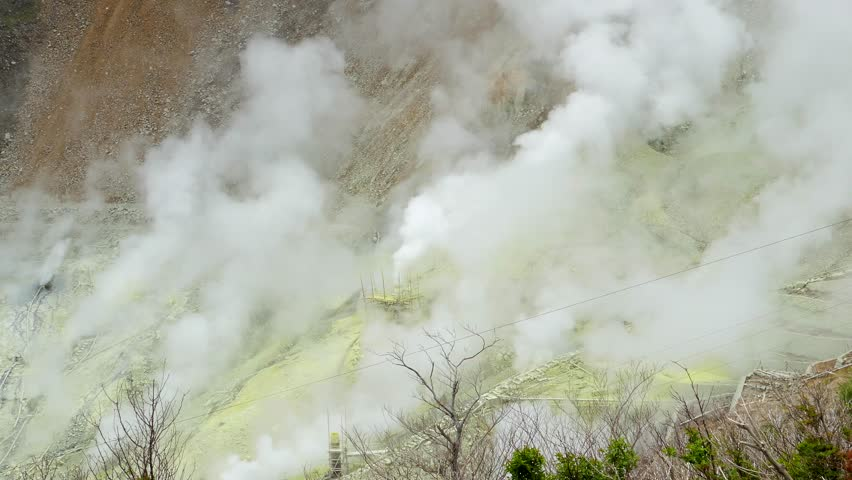 Valley volcanic of Owakudani, sulfur vents and reduce pressure within the earth, It's landmark tourist area in Fuji volcanic, Hakone, Japan.