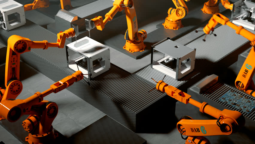 Robotic arms building printers on a assembly line | Shutterstock HD Video #27588970