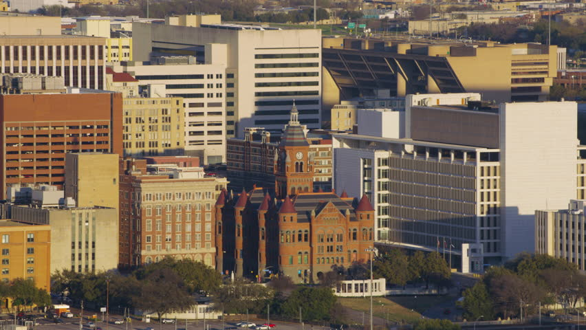 Dallas, Texas circa-2017, Aerial view of Old Dallas County Courthouse building