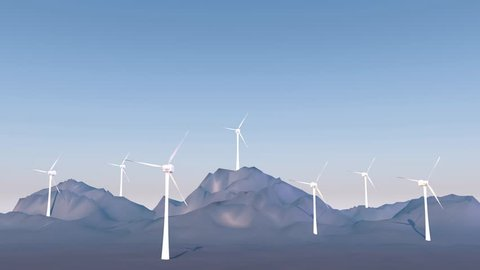 3D animation - Wind turbines in a mountain landscape