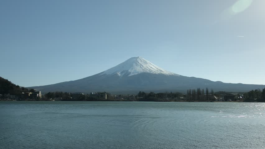 Wide angle lake Kawaguchi and Fuji | Shutterstock HD Video #27625690
