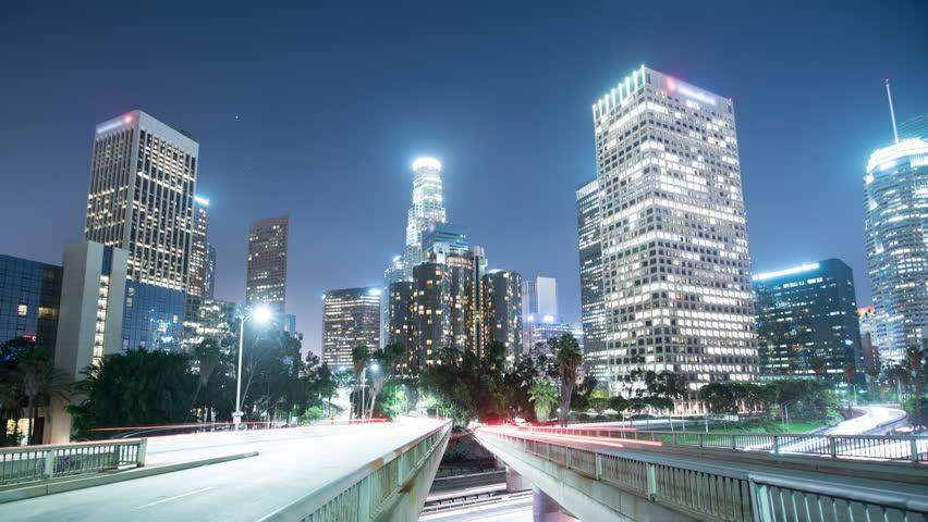 Los Angeles Downtown Traffic on Freeway Bridges 02 Time Lapse    Shutterstock HD Video #27635440