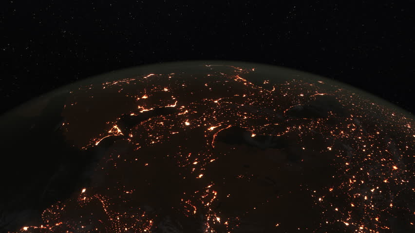 Loopable: Earth from Space. Simulated orbital space flight over the surface of the night planet Earth (South America, Japan, Russia, China, India, Arab World, Europe and Africa).  | Shutterstock HD Video #27637720