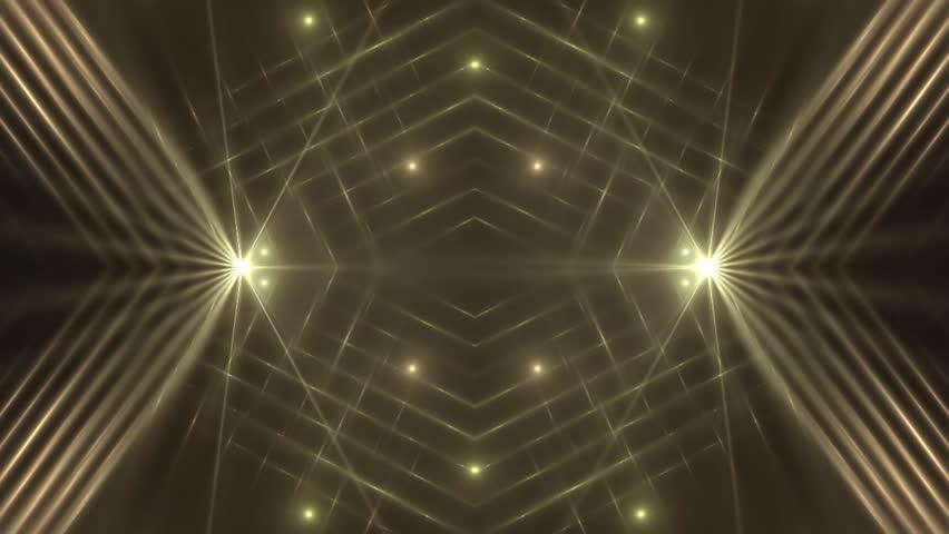VJ Fractal golden kaleidoscopic background. Background orange motion with fractal design on black background. Disco spectrum lights concert spot bulb. Light Tunnel. Seamless loop.