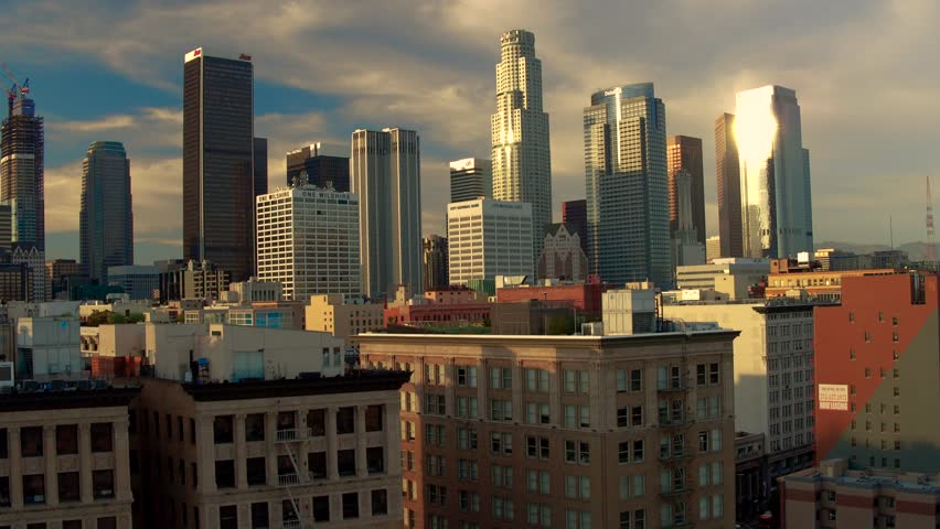 Down Town Los Angeles Sun set boom pull up Aerial Drone   Shutterstock HD Video #27668860