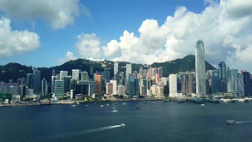 June 10,  2017 : 4K footage aerial view of  Hong Kong Island from Victoria Harbor    Shutterstock HD Video #27733600