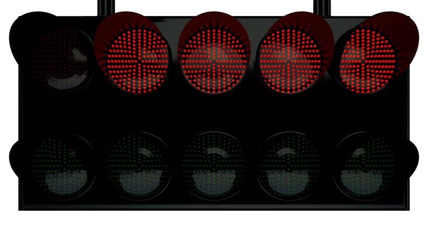 traffic light for racing   with white and blue background