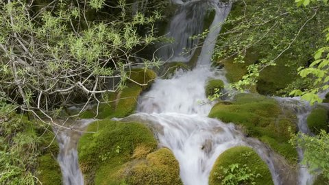 French countryside. Waterfall in the Vercors Natural Park near the Bouvante lake.
