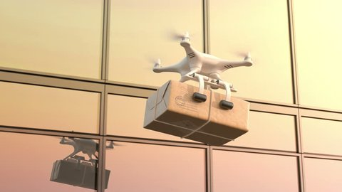 Morning mail delivery, Quadcopter flies against an office building, seamless looping 3d animation, 4K